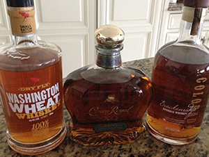 Washington Wheat Whiskey, Breckenridge Whiskey and Crown Royal XO