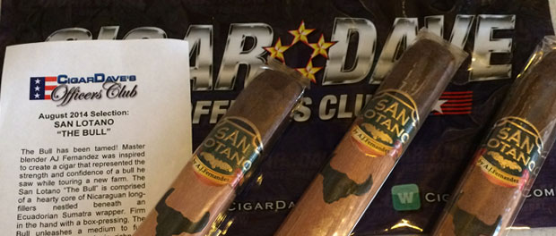San Lotano The Bull by AJ Fernandez is the Cigar Dave's Officers Club Selection for August 2014
