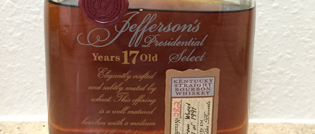 Jefferson's Bourbon 17 Year Old Presidential Select Bottle