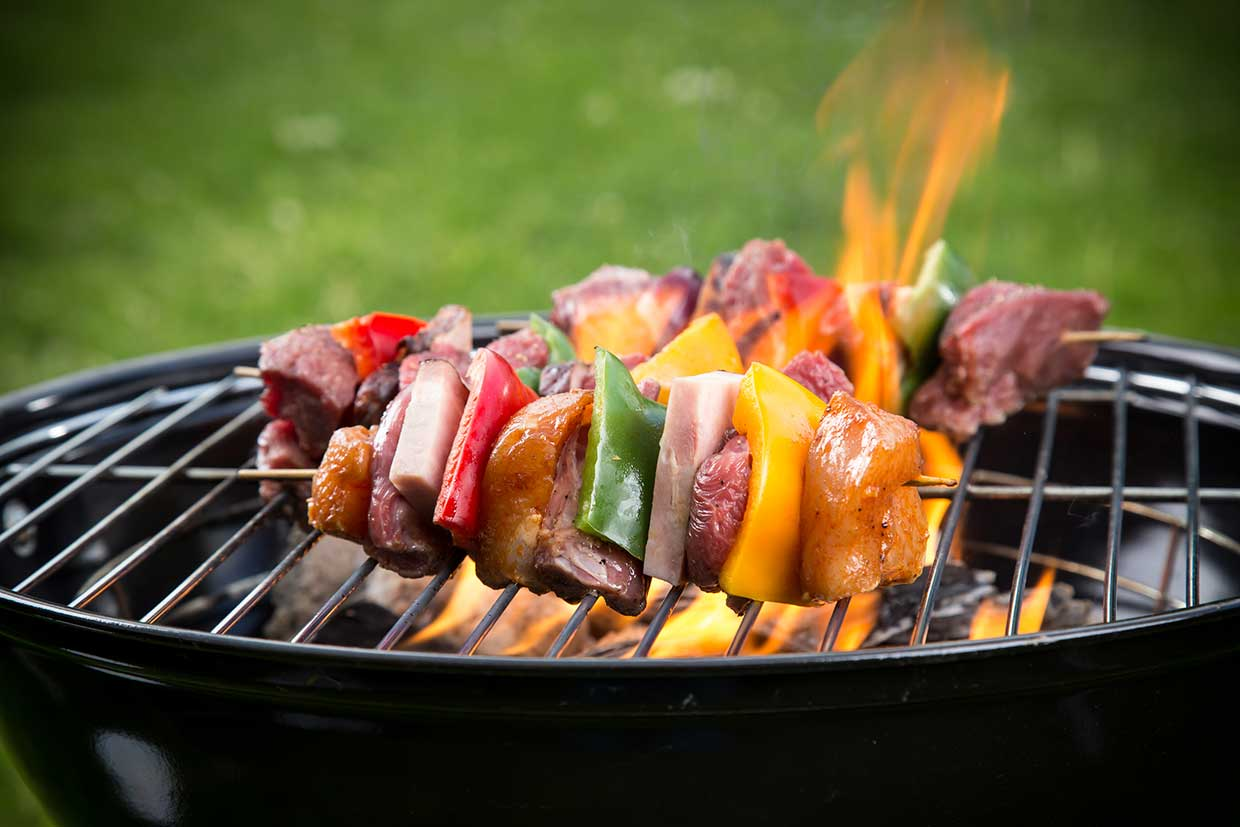 Barbeque Skewers on a Grill