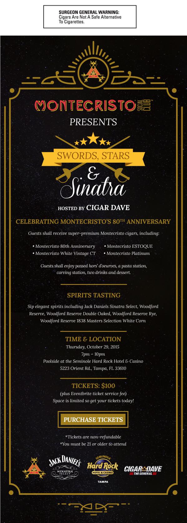Swords, Stars & Sinatra Event Flyer
