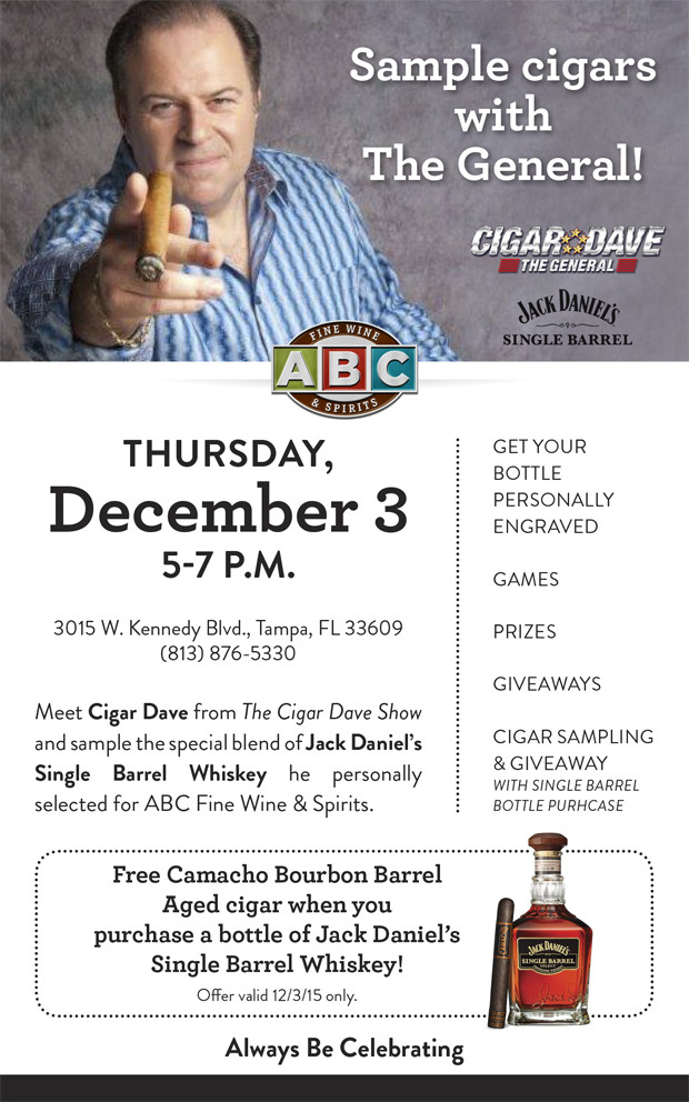 Join Cigar Dave at ABC Fine Wine & Spirits for cigar smoking and bourbon tasting
