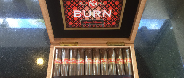 Rocky Patel Burn Special Reserve cigars in a box