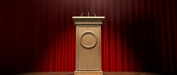 Wooden Podium on Stage
