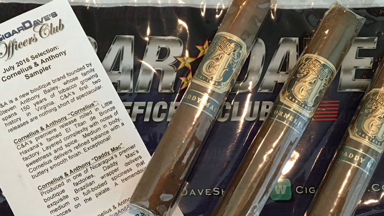 Cigar Dave Officers Club Selection July 2016 Cornelius and Anthony Sampler