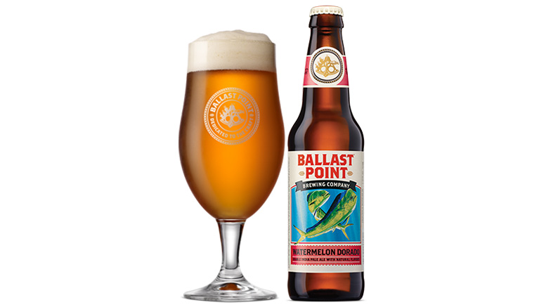 Ballast Point Watermelon Dorado beer bottle and glass