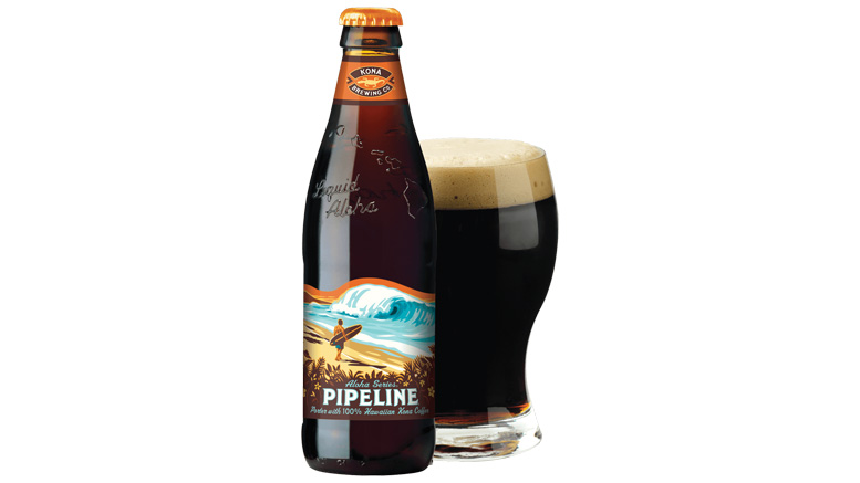 Kona Brewing Pipeline Porter bottle and glass