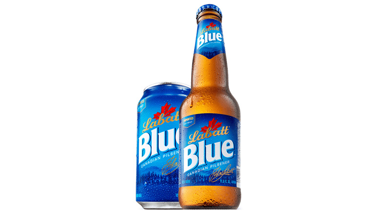 Labatt Blue bottle and can