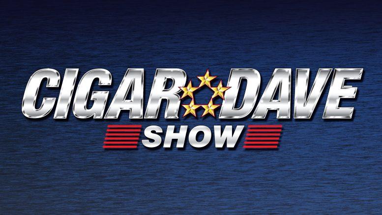 Cigar Dave Show Logo on a blue background