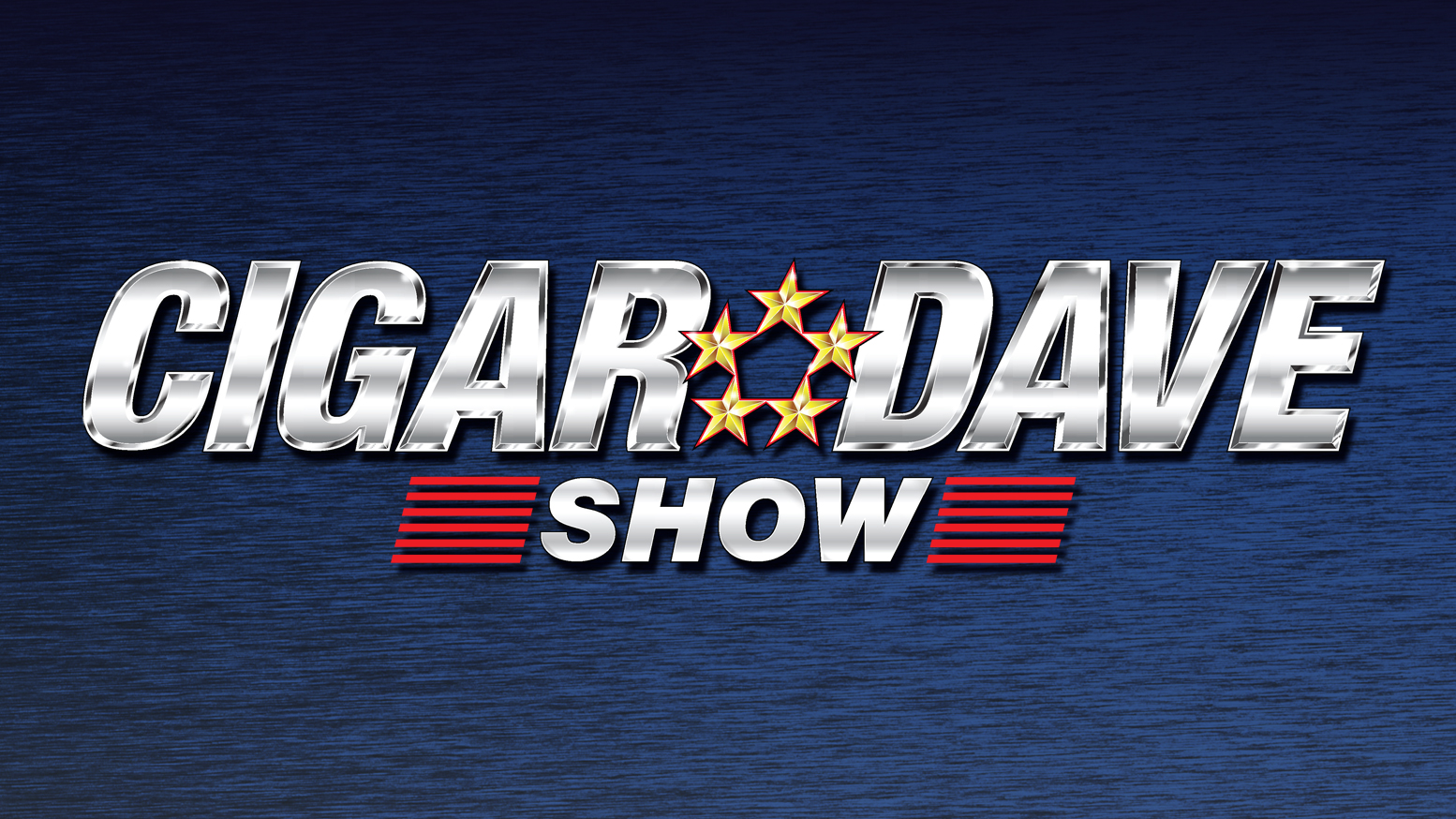 Cigar Dave Show Logo on a blue background