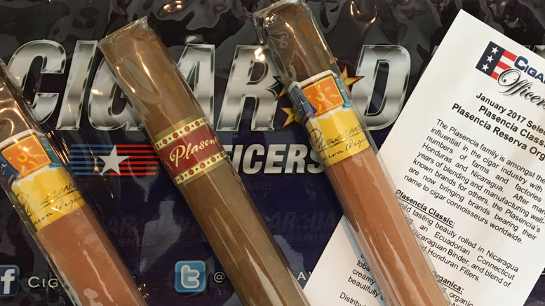Cigar Dave Officers Club Selection for January 2017 is the Plasencia Sampler
