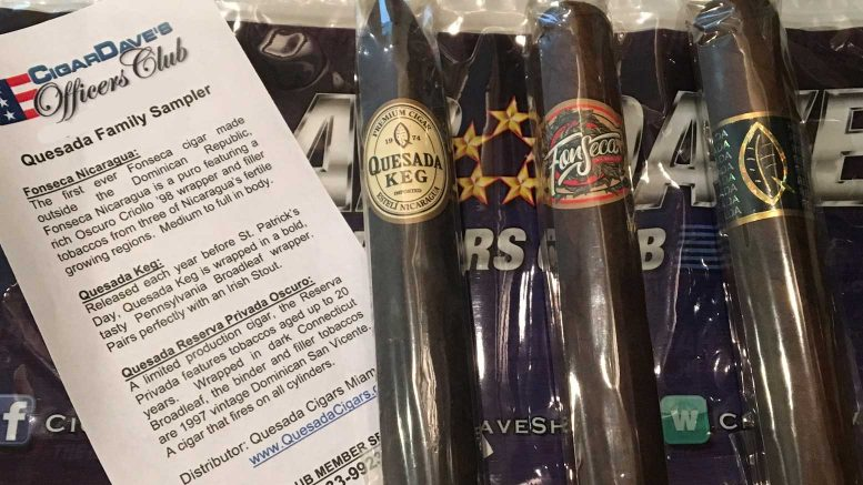 The June 2017 Cigar Dave Officers Club Selection is a Quesada Cigars Sampler including the Fonseca Nicaragua, Quesada Keg, and the Quesada Reserva Privada Oscuro