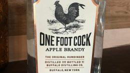 One Foot Cock Apple Brandy bottle