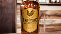 One Foot Cock Straight Bourbon Whiskey Bottle