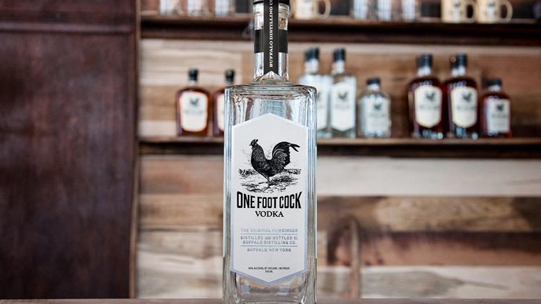One Foot Cock Vodka bottle
