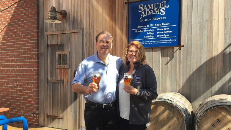 Cigar Dave and Jennifer Glanville at Samuel Adams Brewery in Boston, MA