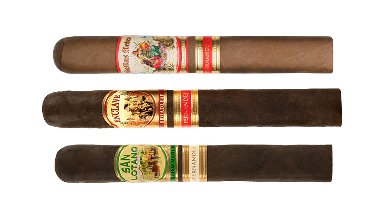 The Cigar Dave Officers Club selection for October 2018 is an AJ Fernandez sampler including Bellas Artes, Enclave Broadleaf, and San Lotano Requiem Maduro