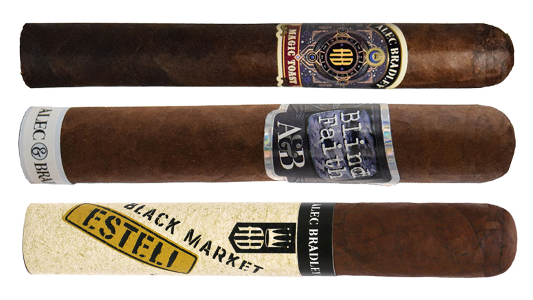 Cigar Dave Officers Club selection for January 2019 Alec Bradley New Release Sampler including the Alec Bradley Magic Toast, Alec & Bradley Blind Faith, and Alec Bradley Black Market Esteli
