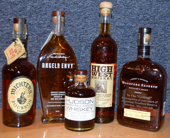 Michters, Angels Envy, High West, Hudson and Woodford Reserve Bourbons