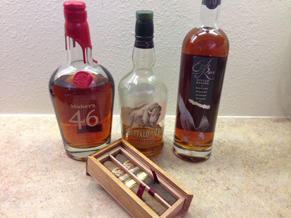 Padron Family Reserve, Makers 46, Buffalo Trace and Eagle Rare Bourbons